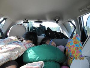 Typical view of the backseat passengers