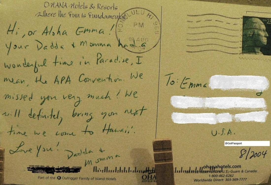 Postcard to our pkg from Hawaii