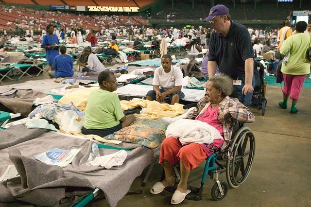 9/2/2005--Approximately 18,000 hurricane Katrina survivors are housed in the Red Cross shelter at the Astrodome and Reliant center. FEMA photo/Andrea Booher